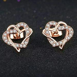 Double Fair Love Heart Intertwined Stud Earrings